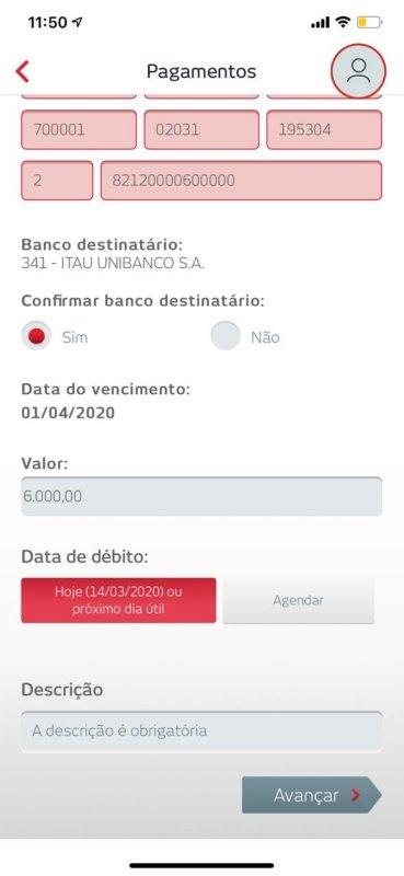 Descrição de pagamento Bradesco no celular
