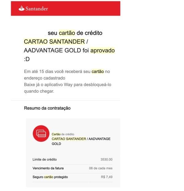 Como saber se fui aprovado no Santander por e-mail