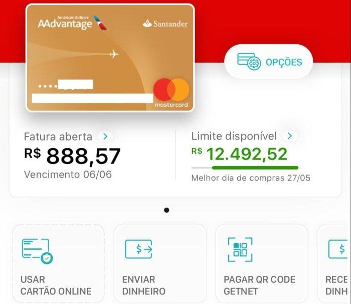 Limite inicial do cartão Santander