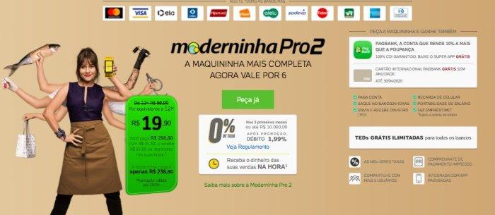 Moderninha Pro 2 - Taxas, bandeiras e preço